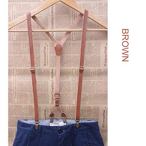 Suspenders Braces Vintage Mens Suspender Unisex England Style Brace Hombre para Mujer Falda de Piel de Vaca Retro Decorativo Tirantes de Cuero 4 Clips, Marrón