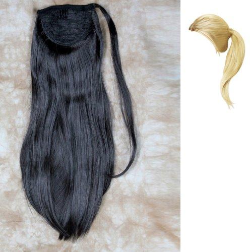Extension de cheveux Résistante à la Chaleur Dégradé Queue de Cheval 1 pièce Clip Noir Entourer Autour