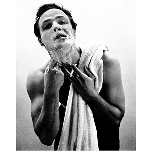 Marlon Brando Candid Shirtless and Shaving 8 x 10 inch photo