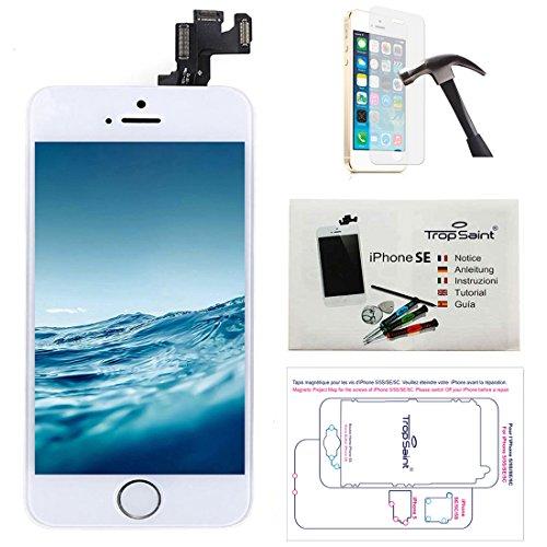 Trop Saint Pantalla Completa Compatible con iPhone SE Blanco - Kit de reparación LCD Guía 5 lenguas, Superficie de Trabajo magnética, Herramientas, Film Protector - Vidrio Templado