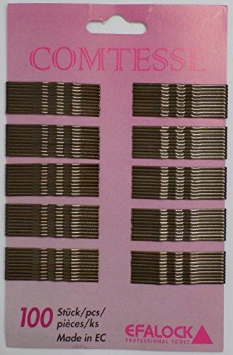Efalock Professional Comtesse Haarklemmen gewellt, braun, 5 cm, 1er Pack, (1x 100 Stück)