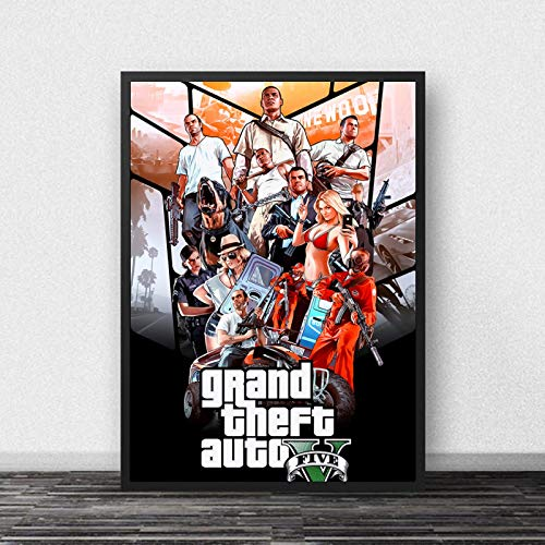 koushuiwa Póster Artístico Impreso Carteles De Pared GTA 5 Grand Theft Auto V Juego Pared Arte Imagen Lienzo Pintura Ac542 Sin Marco 50X70Cm