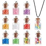 PandaHall 40 piezas de colorido colgante de botella de cristal con bolas de colores decoraciones para hacer manualidades, joyería, 10 colores