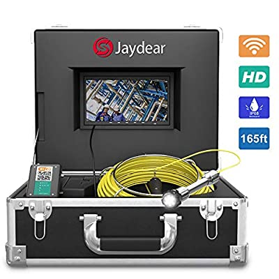 """Pipe Inspection Camera,165ft/50M Sewer Camera 7""""HD Monitor Wireless WiFi Drain Pipe Camera for Android/iOS,DVR Recorder Live Video, Waterproof IP68 Snake Camera for Plumbers, Inspectors, Engineers"""