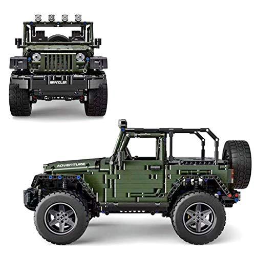 Gettesy Bloques de construcción para coche, 2096, bloques de construcción 1:8, 2,4 G, tecnología de coche de carreras para Jeep Wrangler Rubicon, todoterreno, compatible con Lego Technic