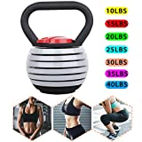 CHAIJY Kettle Bells Ajustables para Hombres Mujeres- 10-40lbs Kettlebell Weights Sets-Materiales EcolóGicos-Kettle Bell Weights Set Fuerza Ejercicio De Entrenamiento,Gray