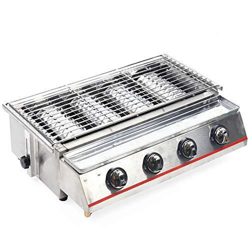 TFCFL Gasgrill-Kombibräter mit Grillrost 4-flammig Gasgrill Grill Gastrobräter Freien Grillpicknick Rauchfreie Tischplatte Silber