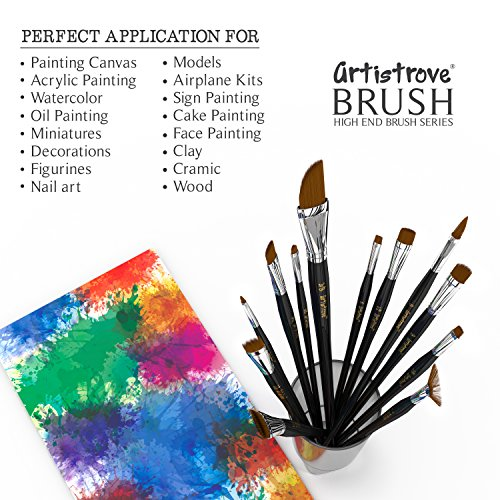 Paint Brush (Set of 12) - Premium Nylon Brushes for Watercolor, Acrylic & Oil Painting   Perfect For Painting Canvas, Ceramic, Clay, Wood & Models - Let Artistrove Brushes Bring Your Painting to Life! Photo #2