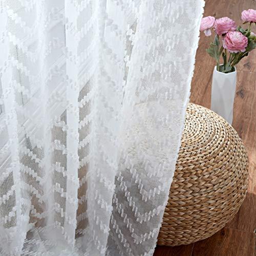 Romantex White Sheer Window Curtain Panels 63 inch Long for Half Window Chevron Jacquard Geometric Lace Voile Window Treatment Sets for Living Room/Bedroom Decorative Drape Pairs 54x63x2