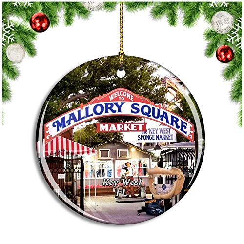 Key West Mallory Square Florida USA Christmas Ornament Xmas Tree Decoration Hanging Pendant Travel Souvenir Collection Double Sided Porcelain 2.85 Inch