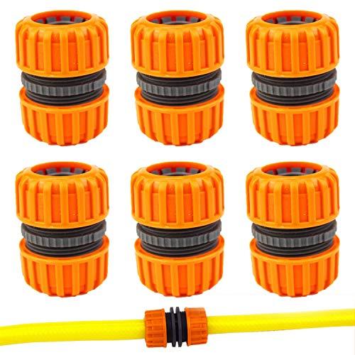 Kungfu Mall, 6 connettori per riparazione tubi flessibili, doppio estensore e fissaggio per tubi da giardino da 1,2 cm