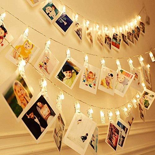 Foto Clip cadena de luces LED,2.4m 20 foto clips luces, Alimentado por Batería para Día de San Valentín, fiesta de cumpleaños (Blanco cálido)