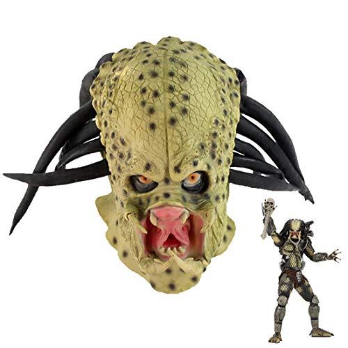 Predator Mask With Dreads Hair Cosplay Alien vs. Predator Halloween Replica Helmet Full Head Latex...