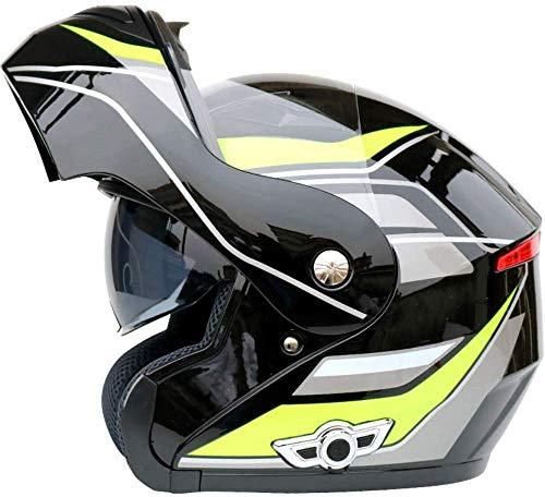 TOTONO Bluetooth Integrato Caschi Moto, Full Face Flip up a Doppia Visiere del Casco modulare citofono del Casco w/Microfono, MP3, GPS,M