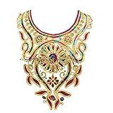 Collar de oro del cuello de malla 3D flor del bordado del cordón de DIY arte de...