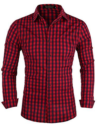 MAROJO Herren Kariertes Hemd Langarm Baumwolle Karo Freizeithemd Trachtenhemd (Rot, XL)