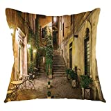 FULIYA Cityscape Throw Pillow Cushion Cover Courtyard Night View with Street Cafe Chairs Plants in Flowerpots Rome Print Decorative Square Accent Pillow Case, 22' X 22',Printed Green Brown