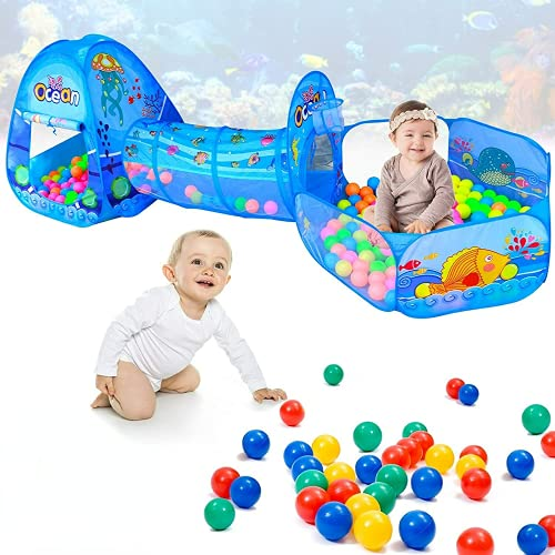 hadio 3 In 1 Kids Play Tent with Play Tunnel, Ball Pit for Babies with Basketball Hoop, Ocean Theme Kids Playhouse for Kids Toys Outdoor and Indoor, Tunnel for Toddlers 1-3 with Play Tent and Ball Pit