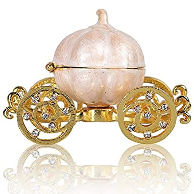 HONG JORA Hinged Trinket Box Crystal Carriage Figurine Collectible Ornament Gift
