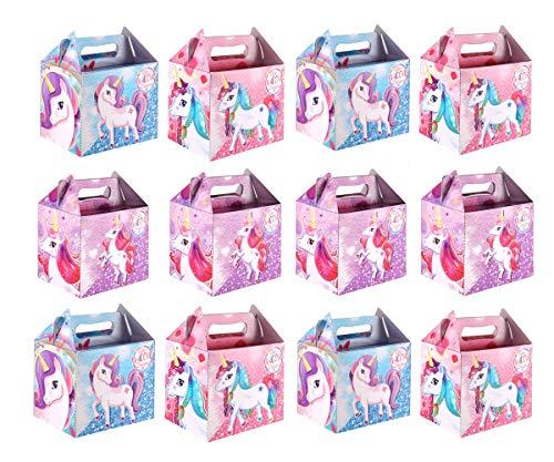 KINPARTY ® - CAJITAS de UNICORNIO (Pack de 12) para regalos, para cumpleaños, para fiestas de Unicornio, para golosinas, para niñas y niños