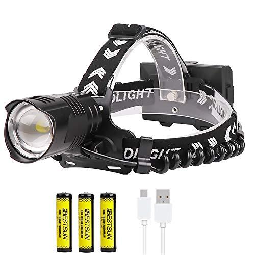 XHP90.2 Linterna frontal LED recargable, linterna de faro súper brillante de 10000...