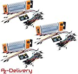 AZDelivery 3 x MB 102 Breadboard Kit - 830 Breadboard, Fuente de alimentación Adaptador 3,3V 5V, 65 x Jumper para Arduino