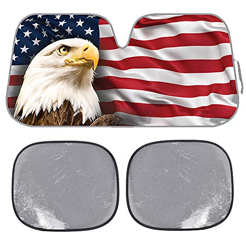 BDK USA Eagle Flag Auto Windwhield & Side Sun Shades for Car SUV Truck - Stars & Stripes-Bubble Foil Jumbo Folding Accordion