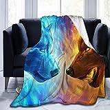Searster$ Fleece Blanket EIS Und Feuer Kühlen Dämonenwolf Ultra Weiche Flanell Warme Decken Für Wohnzimmer Schlafzimmer Couch Sofa Stuhl Büro Auto,50X40 Zoll
