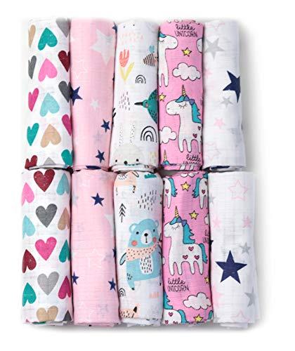 Mulltücher - Mullwindeln - 10er Pack 70x80 cm - Stoffwindeln, MADE IN EU, schadstoffgeprüft - Spucktücher Set für Mädchen – Baby Mullwindeln- Rosa - OEKO-TEX zertifiziert