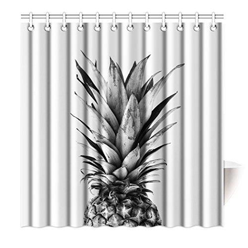 Violetpos Top Qualität Anti-Schimmel Duschvorhang Digitaldruck für Badezimmer Badvorhänge Grau Ananas Tropische Früchte 180 x 200 cm