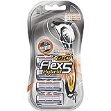 BIC Flex5 Hybrid Rasoir pour Homme - Glisse Parfaite Et Douce - Corps Noir et Orange, Blister de 1 + 4 Recharges