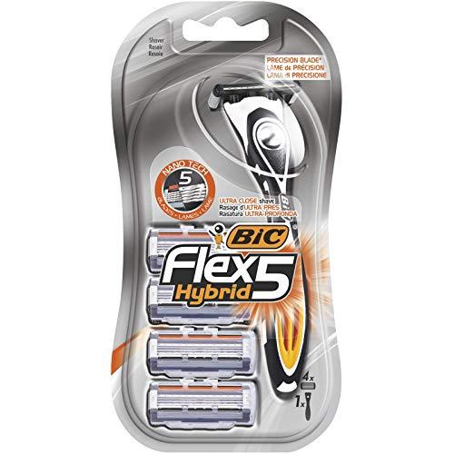 BIC Flex 5 Hybrid Rasierer Herren, Nassrasierer mit 4 Wechselklingen mit je 5 Klingen, mit Aloe Vera und Vitamin E für eine sanfte Rasur