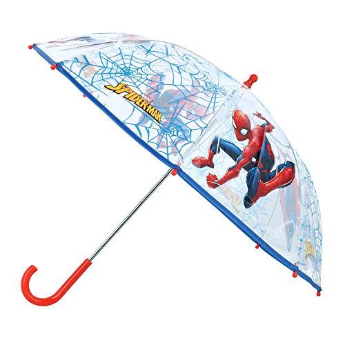 Vadobag Spider-Man Kinder Regenschirm Stockschirm, ∅ 73 cm, transparent/blau