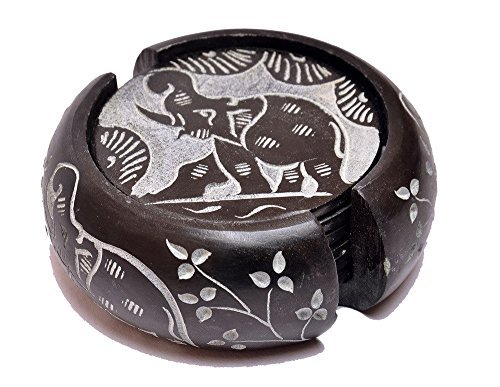Artist Haat Handcrafted Round Soapstone Coaster with Elephant Design Carving Work (Black, 7.5x7.5 Cm Approx. , Set Of 7) by Artist Haat
