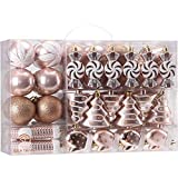 Sea Team 77-Pack Assorted Shatterproof Christmas Balls Christmas Ornaments Set Decorative Baubles Pendants with Reusable Hand-held Gift Package for Xmas Tree (Rose Gold)