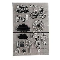 Hongma クリアスタンプ DIY 印章 印鑑 判子 手作りスタンプ 透明 花 自転車 木の葉 手帳 日記 スクラップブック カード デコレーション 手芸 道具 4#