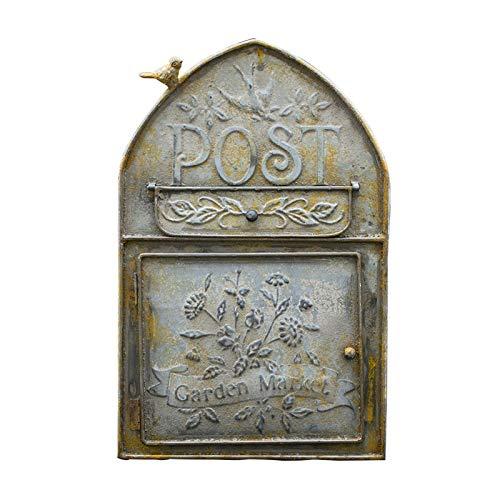 ZXN RTU Security - Buzón de pared de hierro forjado duradero, buzón, buzón de entrada de postal retro, caja de postales, buzón de correo, buzón de apoyo