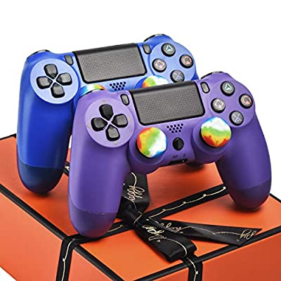 2 Pack Controllers for PS4, Wireless Remotes Control for Sony Playstation 4, YU33 PS4 Joystick Gamepad for Ps4 Controller with Dualshock and Charging Cable, Gift Box Packaging (Blue and Purple)
