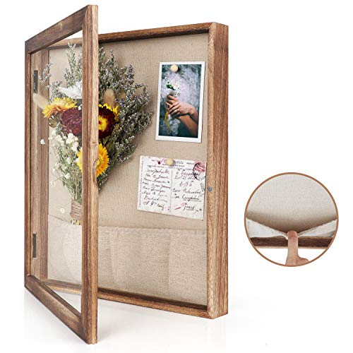 Emfogo 12x14 Shadow Frame Box Display for Pin with Linen Back Large Wooden Memory Box for Keepsakes...