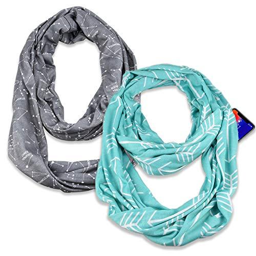 Infinity & Soft Scarf with Hidden Zipper Pocket Bundle Set | Winter Spring Summer Fall Autumn Lightweight Fashion Pattern Scarf, Travel Accessories for Women Girls Ladies(2 Pack)