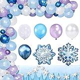 Reine des Neiges Anniversaire Décoration Bleu Fête Décoration Ballon Latex Congelés Blanc & Confettis pour Filles Femmes Anniversaire Bébé Douche Fête Toile de Fond