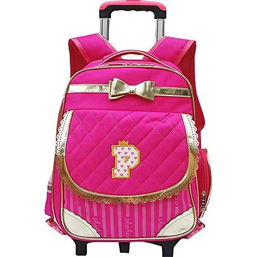 Rugzak van canvas, voor peuters, Lovely, roze, zacht, met 2 wielen, Golden Bow-strik, rugzak voor meisjes, afneembare rolrugzak voor school, studenten
