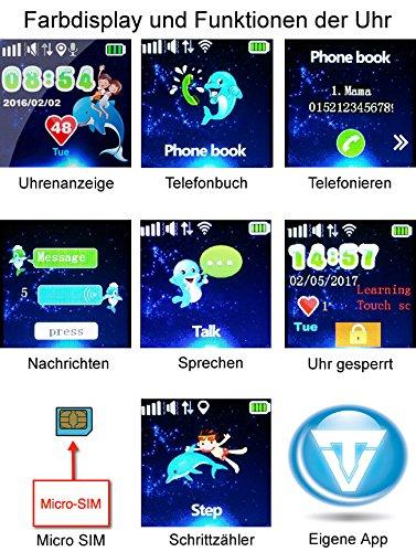 VIDIMENSIO GPS Telefon Uhr Großer Delfin Armband: schwarz-lang, WASSERDICHT, OHNE Abhörfunktion Abbildung 3