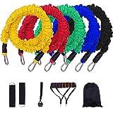 CLQya Yoga resistencia Band Set Anti-Breaking Protección de seguridad del tubo extensor de ejercicio físico Banda elástica Inicio Formación tire de la cuerda,11 piezas conjunto