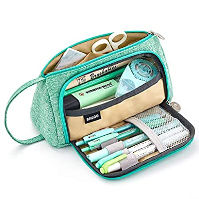 EASTHILL Large Capacity Pencil Pen Case Bag Pouch Holder Multi-slot School Supplies For Middle High School Office College Girl Adult Simple Storage Mint Green from ANGOO