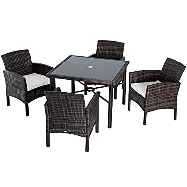 Outsunny 5pc Outdoor Patio Rattan Wicker Table Padded Sofa Chair Dining Set