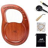 Aklot Arpa de lira,16 cuerdas de metal para sillín de hueso, arpa de caoba con pickup llave de afinación y bolsa negra