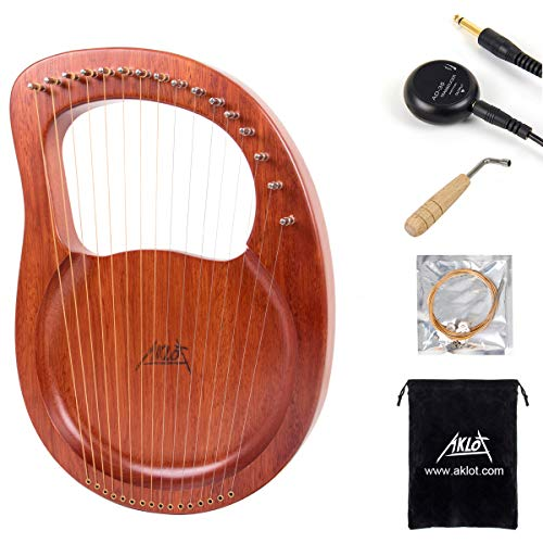 Lyre Harp, AKLOT 16 Metal Strings Bone Saddle Mahogany Lye Harp with Tuning Wrench and Black Gig Bag