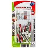fischer - Alcayata EasyHook DuoPower 6x30, tacos para pared, tacos y tornillos, alcayatas y ganchos, colgar cuadros, Pack de 6 uds.