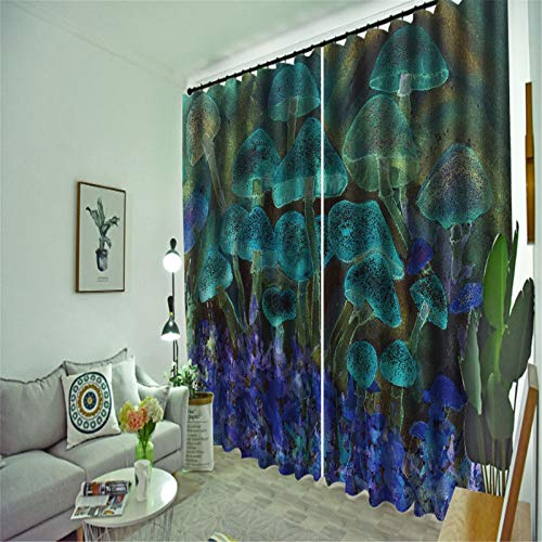 FACWAWF Home 3D 3D Ocean World Polyester Fabric Bedroom Living Room Balcony Study Room Curtain 184x160cm(2pcs)